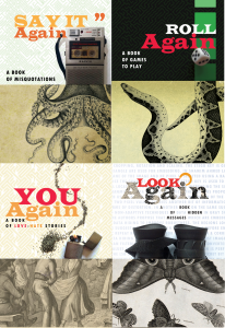 Four book covers, featuring a dictaphone blended with an octopus, a game board blended with a snake, a couple dancing blended with gunpowder and a lighter and a moth blended with binoculars.