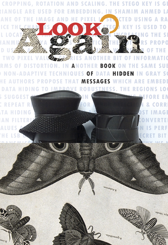 Book cover for Look Again, featuring a moth melded with a pair of binoculars